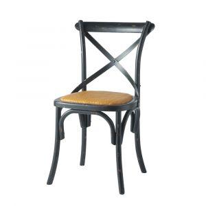 Chaise bistrot en rotin et bouleau noir Tradition