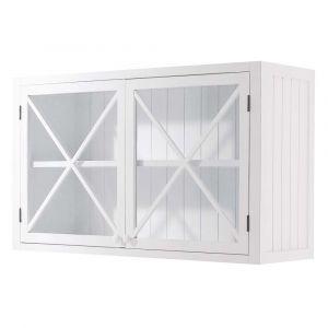 Meuble haut vitré de cuisine en pin blanc L 120 cm Newport