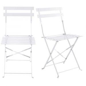 2 chaises pliantes de jardin en métal blanches Guinguette