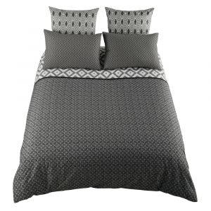 Parure de lit 240 x 260 cm en coton grise MALONI