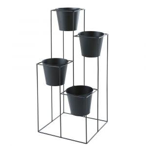Cache-pot 4 supports en métal noir