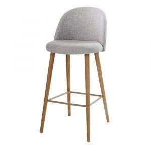 Chaise de bar vintage gris clair chiné et frêne Mauricette