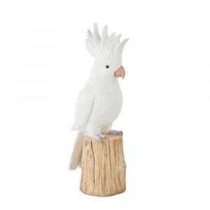 Statue de jardin cacatoès sur souche d'arbre blanche H51