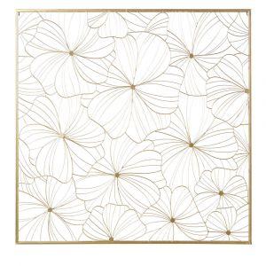 Déco murale filaire fleurs en métal doré 100x100