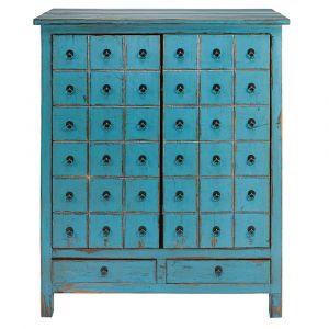 Cabinet 2 portes 2 tiroirs en sapin bleu vieilli Baho