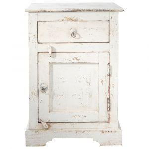 Table de chevet avec tiroir en manguier blanche L 42 cm Avignon