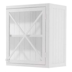 Meuble haut vitré de cuisine ouverture gauche en pin blanc L 60 cm Newport