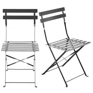 2 chaises pliantes de jardin en métal taupe Guinguette