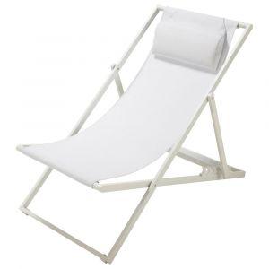 Chaise longue / chilienne pliante en métal blanche Split