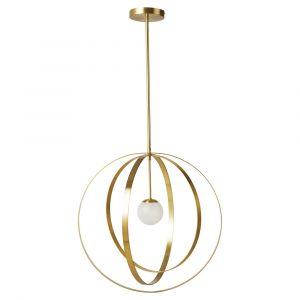 Suspension en métal doré et globe en verre sablé