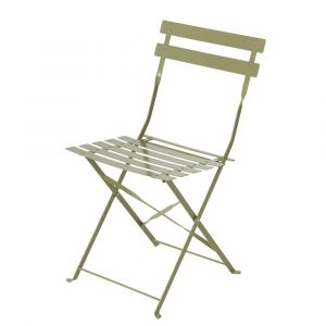 Chaises de jardin en métal vert tilleul (x2) Guinguette