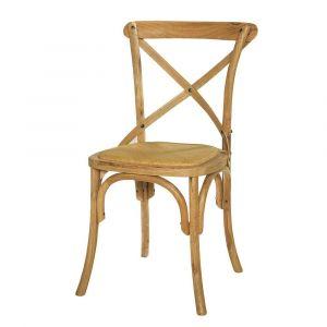 Chaise bistrot en rotin et chêne massif Tradition