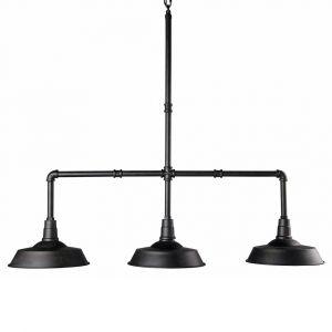 Suspension triple indus tuyaux en métal noir