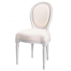 Chaise médaillon en coton ivoire et bois blanc Louis
