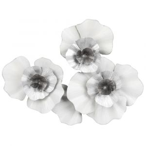 Déco murale 3 fleurs en métal blanc et argenté 70x57