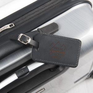 Porte étiquette bagage - cuir - noir