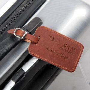 Porte étiquette bagage - cuir - marron