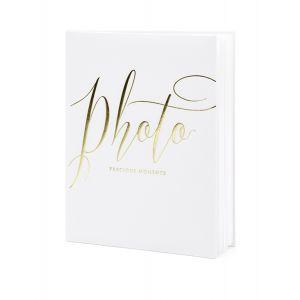 Album photo blanc et doré 22 pages 20 x 24,5 cm