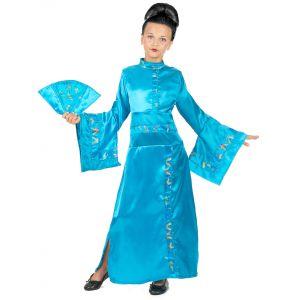 Déguisement chinoise bleue fille - Taille: 3-5 ans (110 cm)