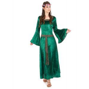 Déguisement médiéval vert effet velours femme - Taille: XS