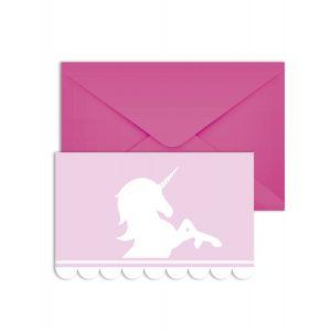 6 Cartons d'invitation avec enveloppes Licorne pastel 14 x 9 cm