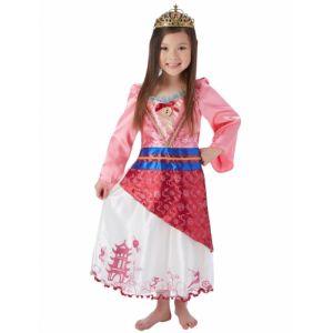 Déguisement princesse Mulan avec couronne fille 7 à 8 ans (128 cm)