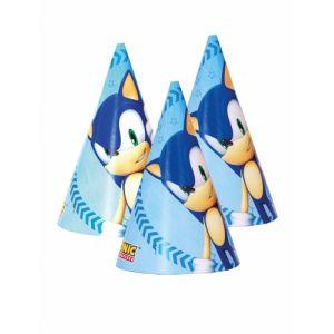 6 Chapeaux de fête en carton Sonic Taille Unique