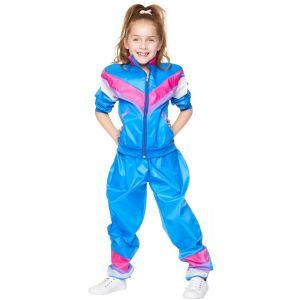 Déguisement survêtement bleu années 80 fille - Taille: 5-6 ans (116 cm)