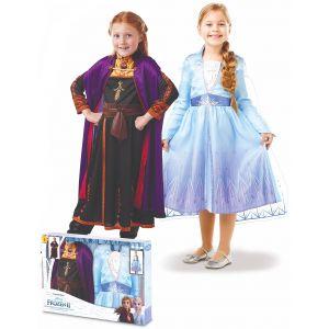 Coffret déguisements Elsa et Anna La Reine des neiges 2 fille - Taille: 7 à 8 ans (117 à 128 cm)