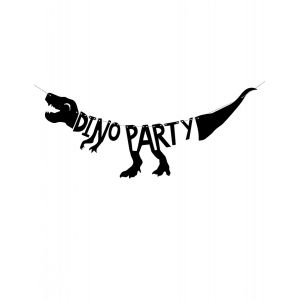 Guirlande en carton squelette dino party noire 90 x 20 cm