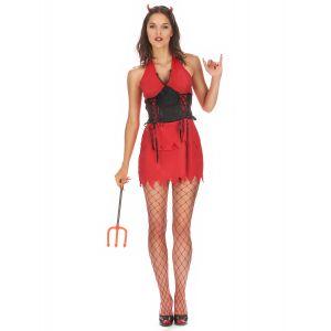 Déguisement diablesse sexy rouge et noire femme - Taille: Small