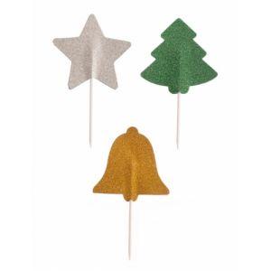 3 Piques en papier pailletés Noël 5 cm Taille Unique