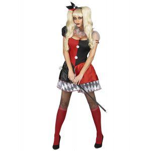 Déguisement arlequin rouge et noir femme - Taille: M