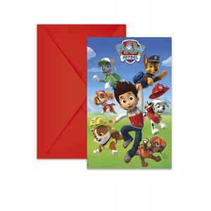 6 Cartons d'invitation avec enveloppes Pat'Patrouille prêt pour l'action