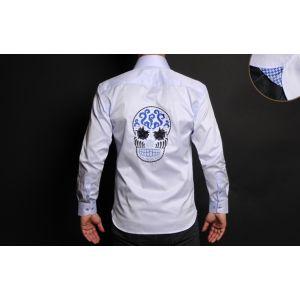 Chemise Homme Bleue Doublure à Motifs Tête de Mort Collector -