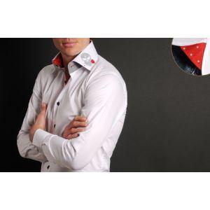 Chemise Homme Blanche Doublure Rouge à Pois Tête de Mort Grise -