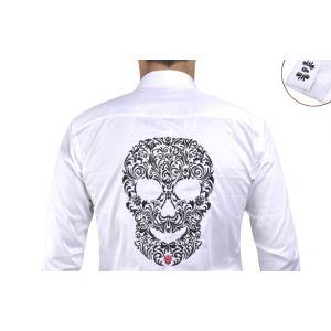 Chemise blanche à tete de mort brodée -