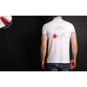 Polo Homme Blanc Doublure Rouge Tête de Mort Grise -