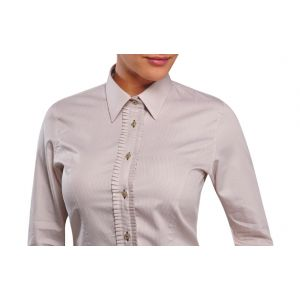 Chemisier femme taupe a fines rayures micro jabot doublure a fleurs
