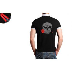 Polo Homme Noir Doublure Rouge Tête de Mort Grise -