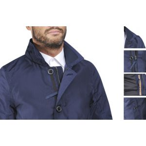 Trench coat bleu col haut