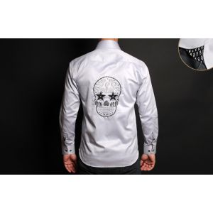 Chemise Homme Grise Doublure à Motifs Tête de Mort Collector -