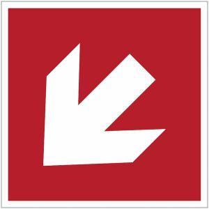Panneau ISO 7010 Flèche directionnelle incendie 45°