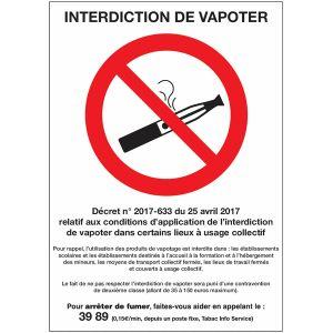 Affiche réglementaire interdiction de vapoter