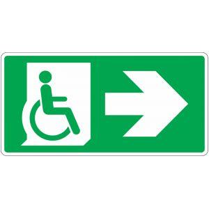Panneau évacuation Handicapé, flèche droite