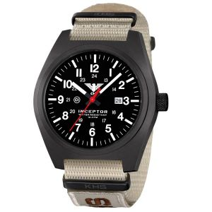 KHS Montre Inceptor Black Steel XTAC Bracelet Otan tan