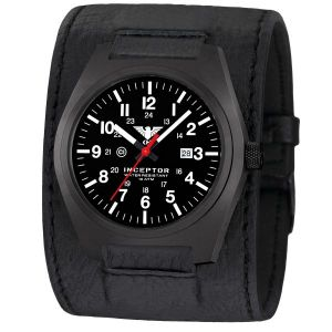 KHS Montre Inceptor Black Steel Bracelet large en cuir noir