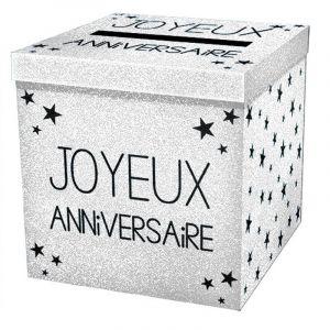 """Urne pailletée """"Joyeux Anniversaire"""" - Blanc"""