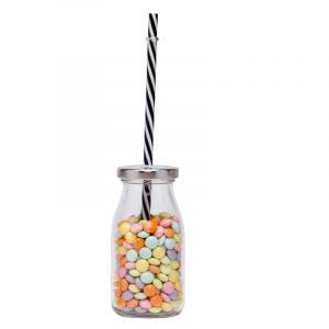 Pot en verre avec paille 12 x 5 cm