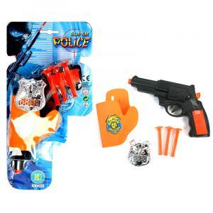 Pistolet de policier et son badge